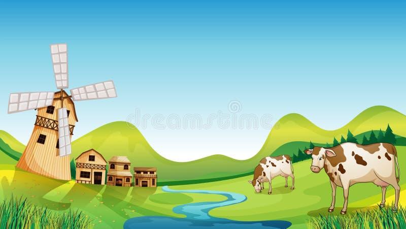 Uma exploração agrícola com um celeiro e as vacas ilustração do vetor