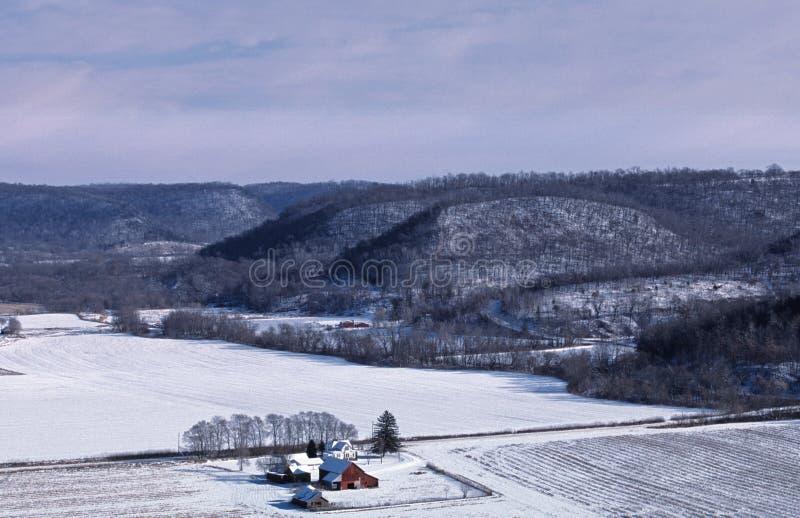 Uma exploração agrícola de Bluffland Minnesota no inverno foto de stock