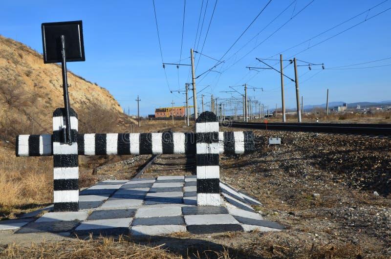 Uma extremidade da estrada de ferro imagens de stock