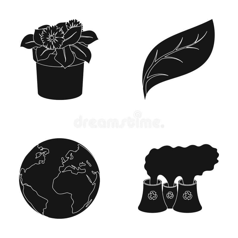 Uma fábrica de tratamento, flores em um potenciômetro, uma folha verde, uma terra do planeta Ícones ajustados bio e da ecologia d ilustração do vetor
