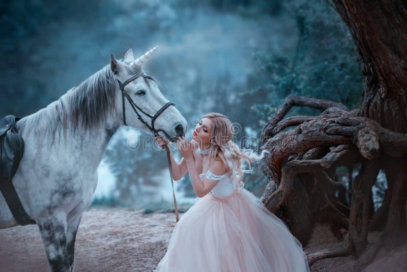 Uma fada em um vestido macio do vintage abraça um unicórnio Cavalo mágico, brilhante fantástico Louro do rio e da floresta do fun foto de stock