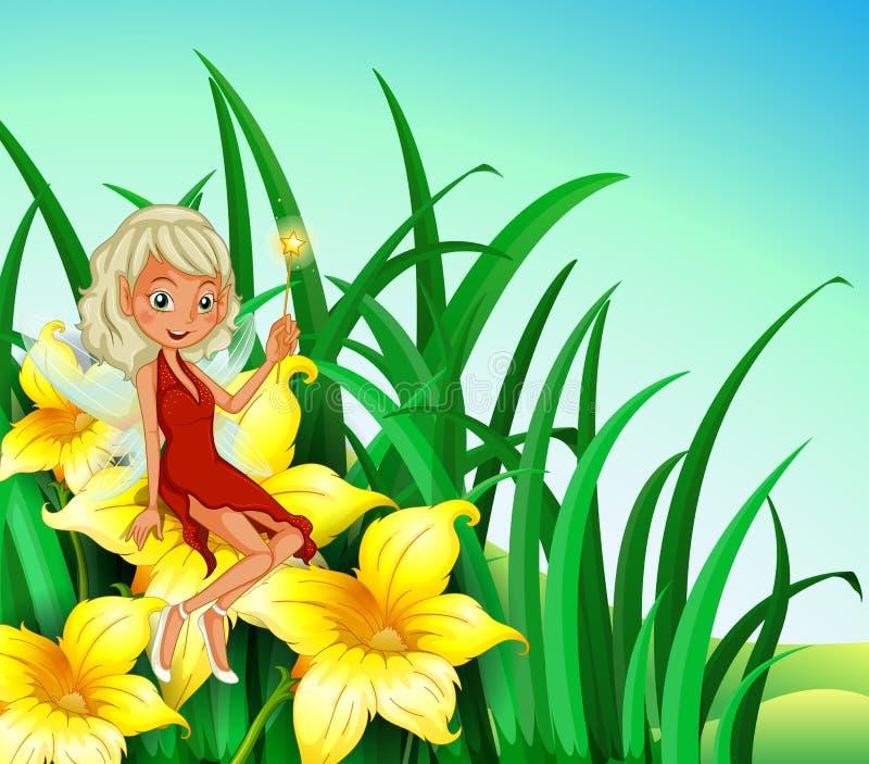 Uma fada que guardara uma varinha que senta-se acima de uma flor ilustração stock