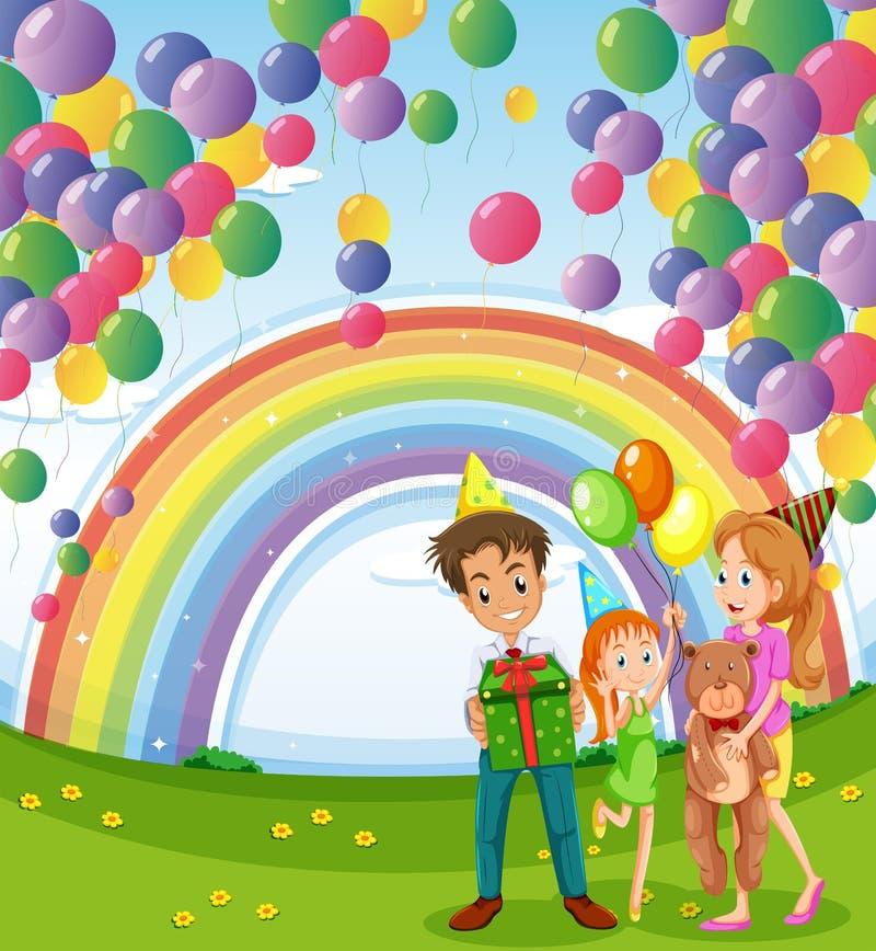 Uma família abaixo da flutuação balloons com um arco-íris ilustração do vetor