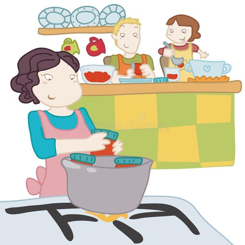 Uma família cozinha o togheter ilustração stock