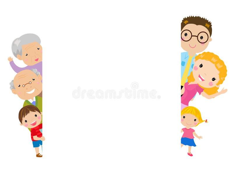 Uma família e um frame grandes ilustração royalty free