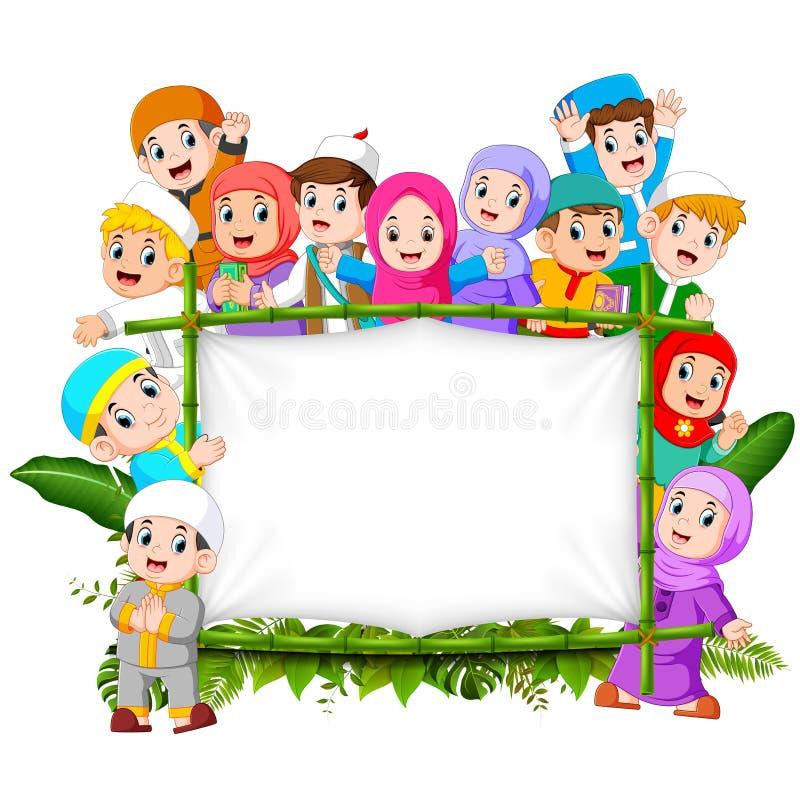 Uma família feliz grande está guardando a selva woodeen a bandeira ilustração do vetor