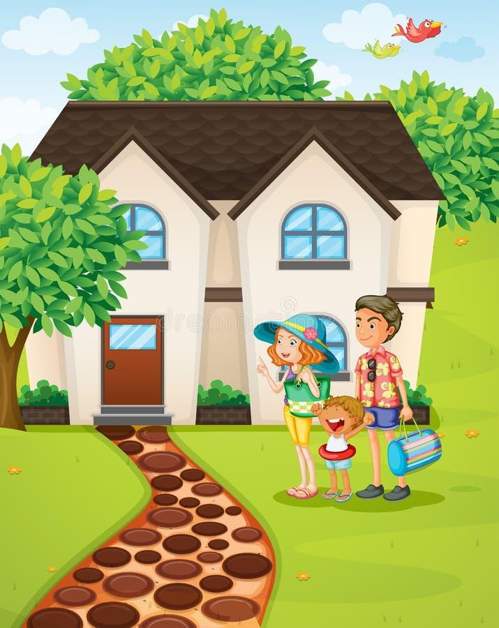 Uma família feliz que prepara-se para uma excursão ilustração do vetor