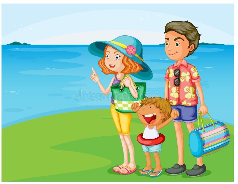 Uma família na praia ilustração do vetor