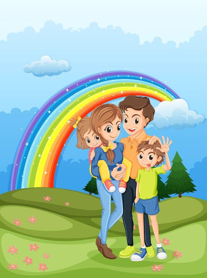 Uma família que dá uma volta com um arco-íris no céu ilustração royalty free