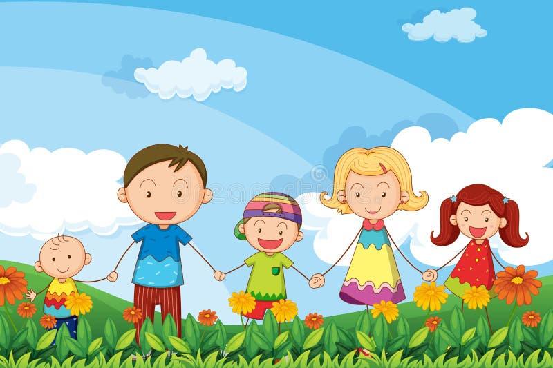 Uma família que dá uma volta no jardim ilustração stock