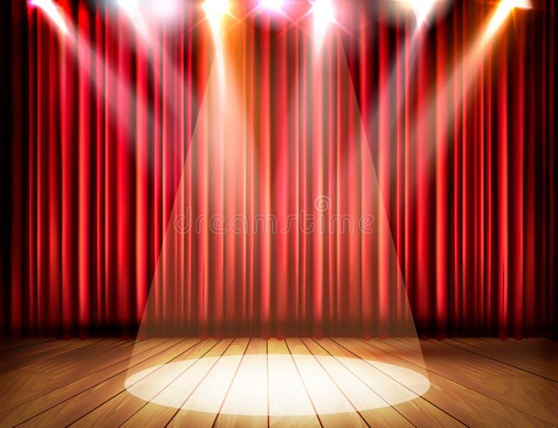 Uma fase do teatro com uma cortina vermelha e um projetor ilustração royalty free