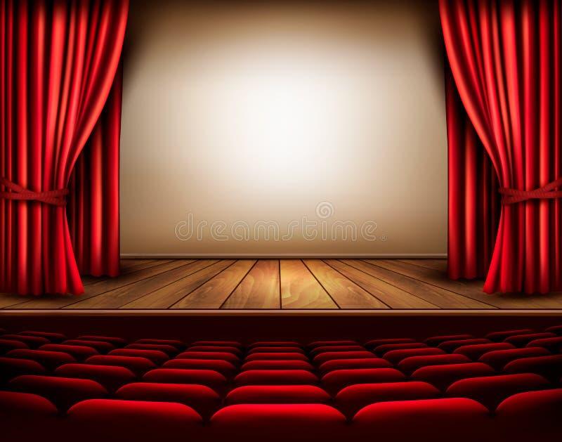 Uma fase do teatro com uma cortina vermelha, assentos ilustração royalty free