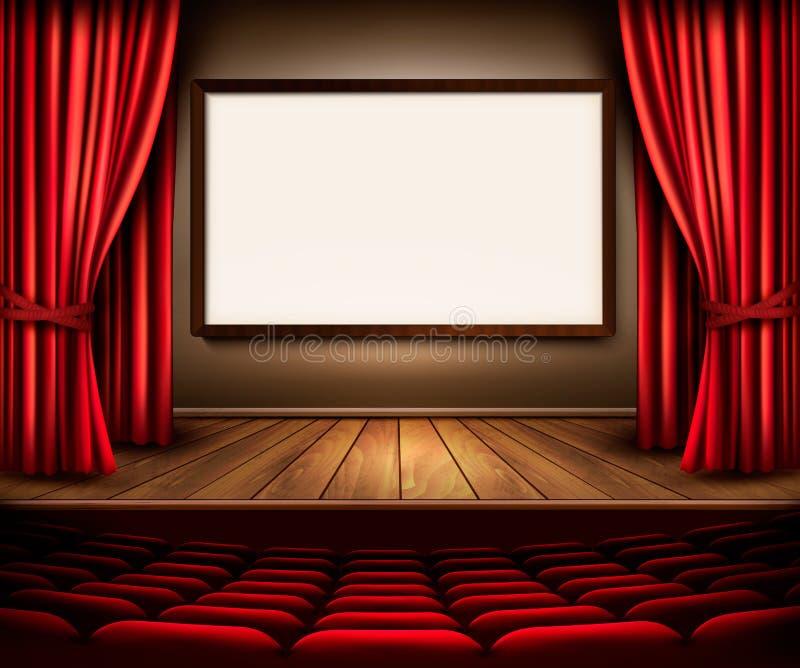Uma fase do teatro com uma cortina vermelha, os assentos e um projeto embarcam ilustração do vetor