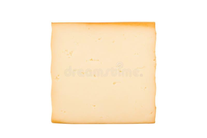 Uma fatia fumado do queijo no fundo branco imagem de stock