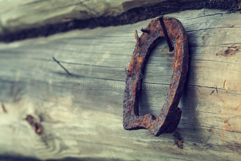 Uma ferradura oxidada velha em uma placa de madeira antiga fotografia de stock