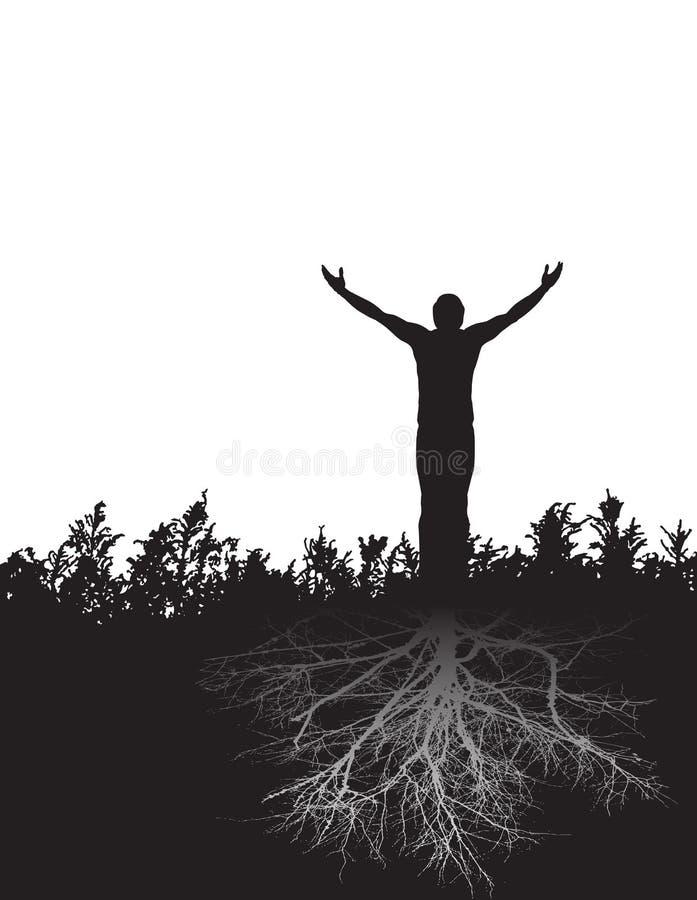 Uma figura calma está enraizada firmemente na gratitude ilustração royalty free