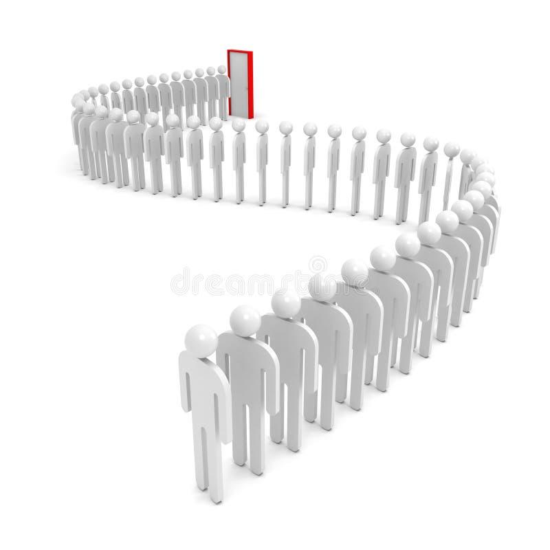 Uma fila de povos abstratos no branco ilustração stock