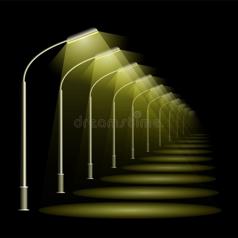 Uma fileira de lâmpadas de rua na perspectiva Fundo preto da noite e lanternas leves mornas ilustração royalty free