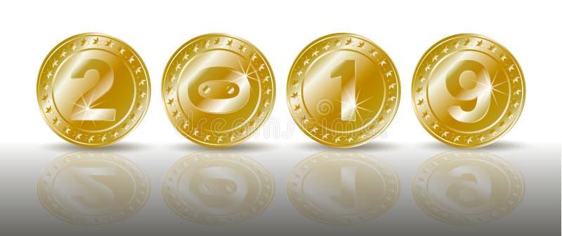 Uma fileira de moedas de ouro efervescentes simbólicas com os números do ano novo 2019 com reflexão do shadaow e de espelho Símbo ilustração stock