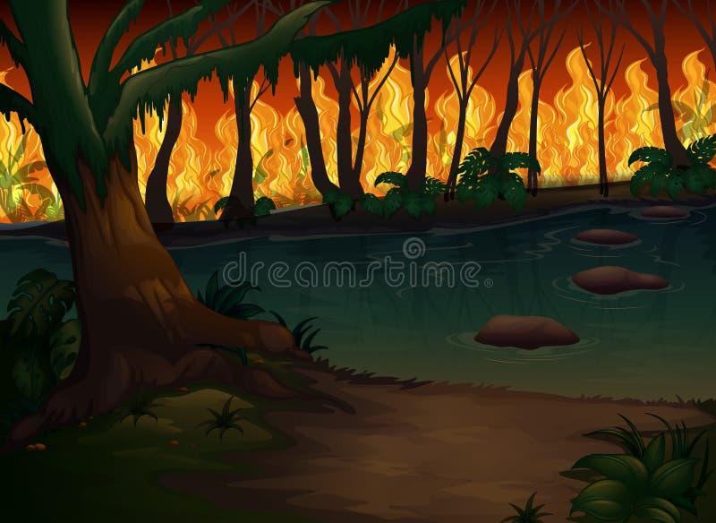 Uma floresta com desastre do incêndio violento ilustração royalty free