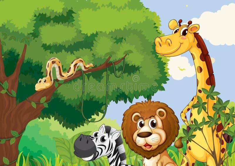 Uma floresta com os animais selvagens assustadores ilustração royalty free