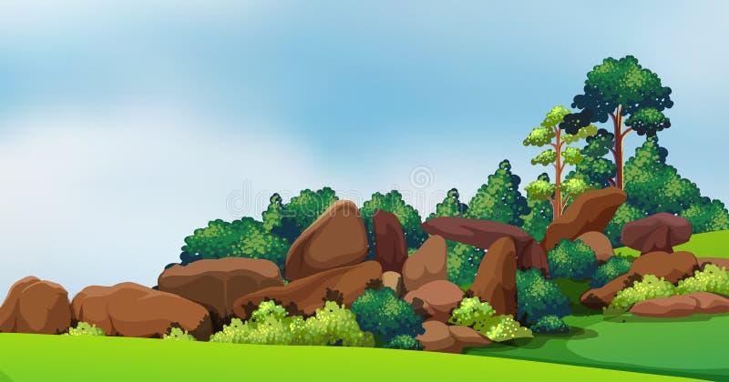 Uma floresta com rochas grandes ilustração do vetor