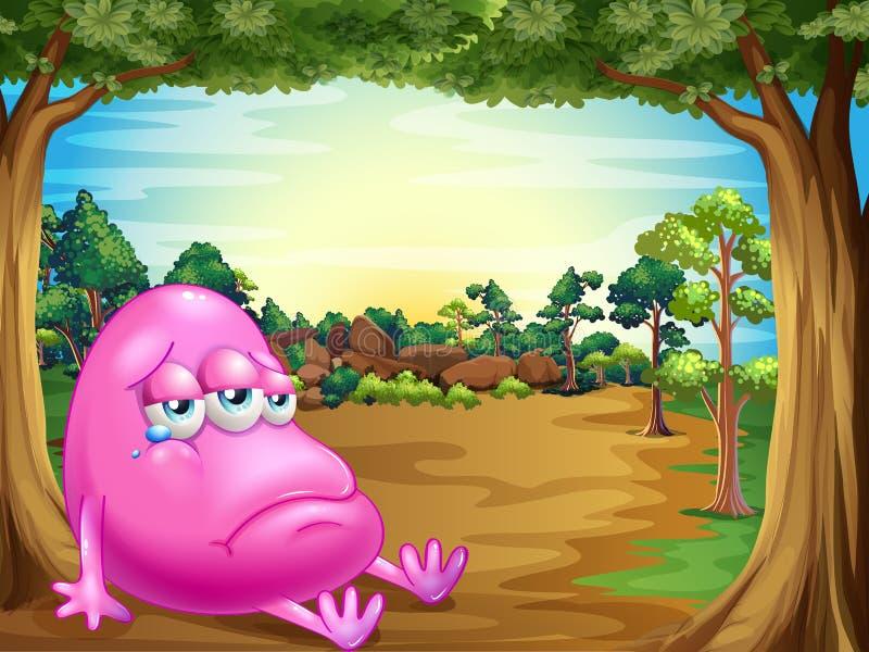 Uma floresta com um monstro gordo triste do beanie ilustração royalty free