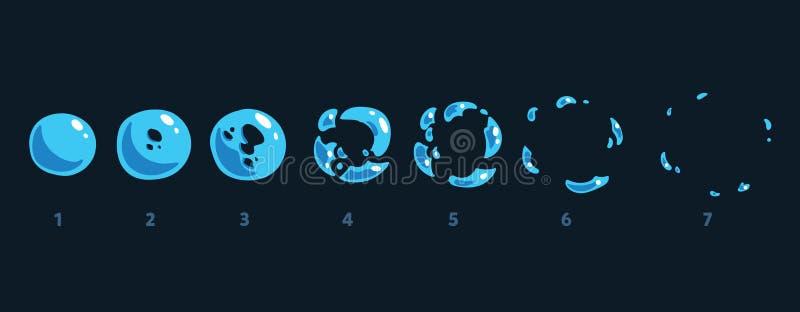 Uma folha do duende do duende, uma armadilha de água, um respingo, uma bolha Animação para um jogo ou uns desenhos animados ilustração stock