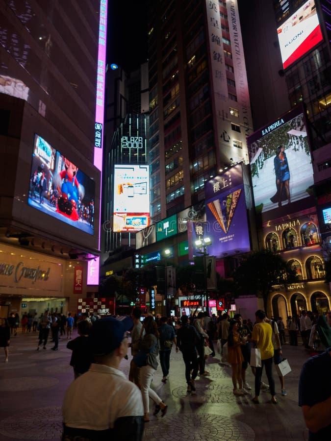 Uma foto tomada perto do shopping do Times Square perto da rua Hong Kong de Russel fotografia de stock
