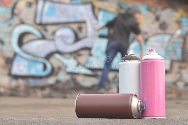 Uma fotografia de um determinado número de latas da pintura contra o graf imagem de stock royalty free