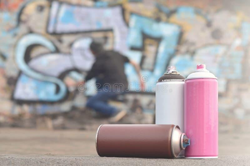 Uma fotografia de um determinado n?mero de latas da pintura contra o graf fotografia de stock