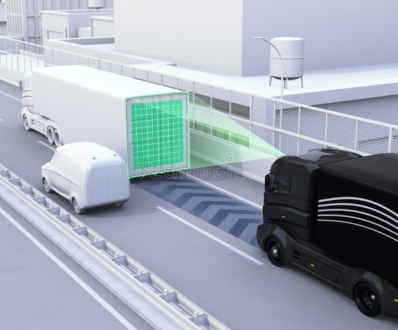 Uma frota do caminhão autônomo que conduz na estrada ilustração stock