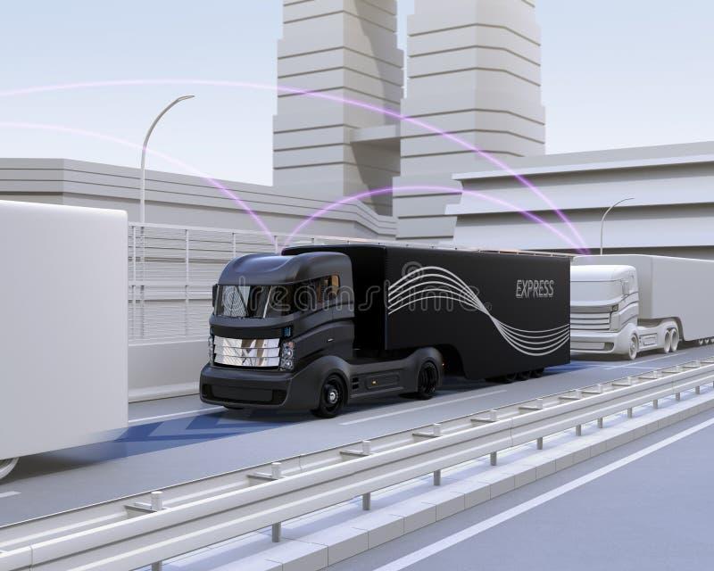 Uma frota do caminhão autônomo que conduz na estrada ilustração royalty free