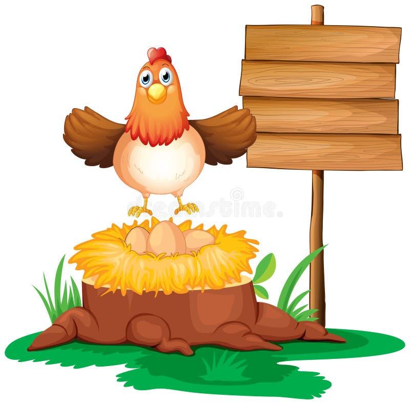 Uma galinha com um ninho acima de um tronco perto de um signage ilustração royalty free
