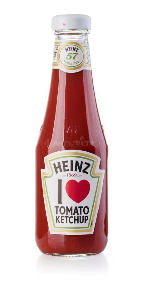 Uma garrafa de Heinz Ketchup fotografia de stock