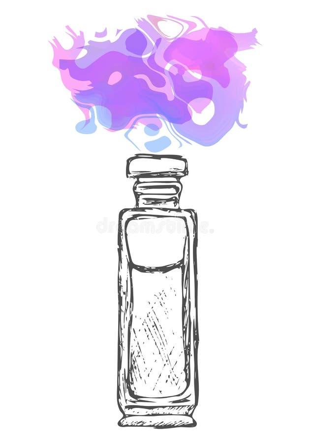 Uma garrafa do perfume tirada à mão calligraphy Pulverizador da cor, manchas da pintura Fragrância de evaporação ilustração do vetor