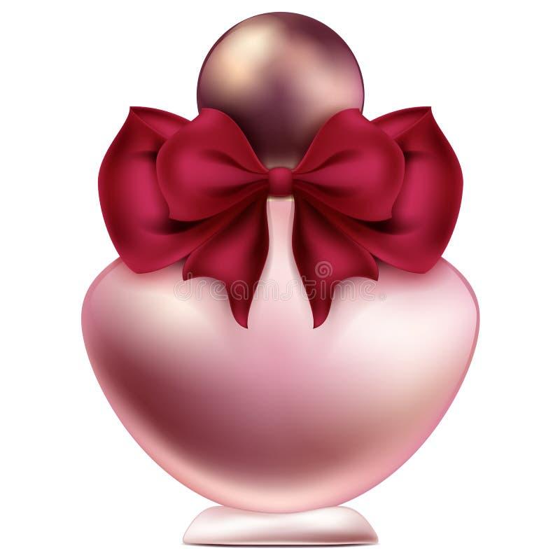Uma garrafa do projeto do perfume com ilustração da joia da curva e da pérola ilustração royalty free