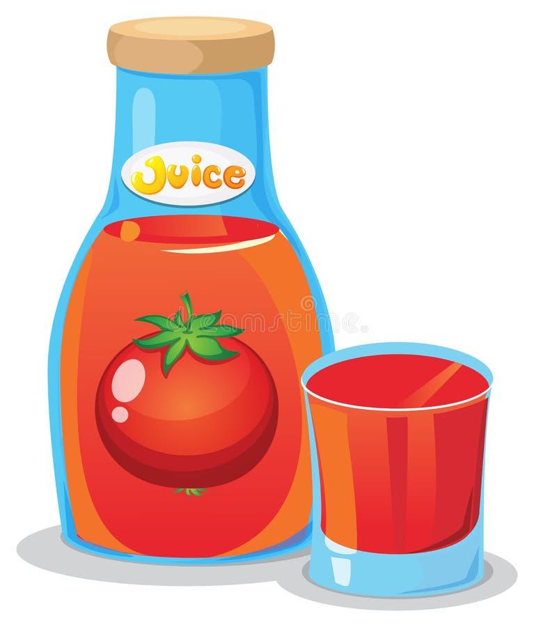 Uma garrafa do suco de tomate ilustração stock