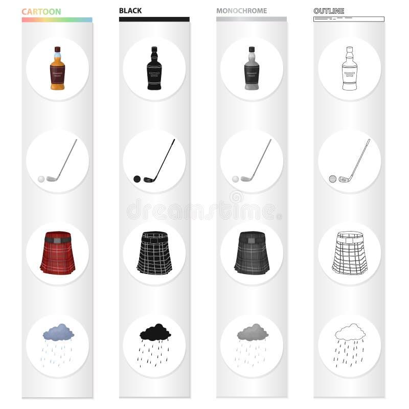 Uma garrafa do uísque escocês, da bola e do embocador para o golfe, uma saia escocesa, o tempo em Escócia Grupo de Escócia do paí ilustração royalty free