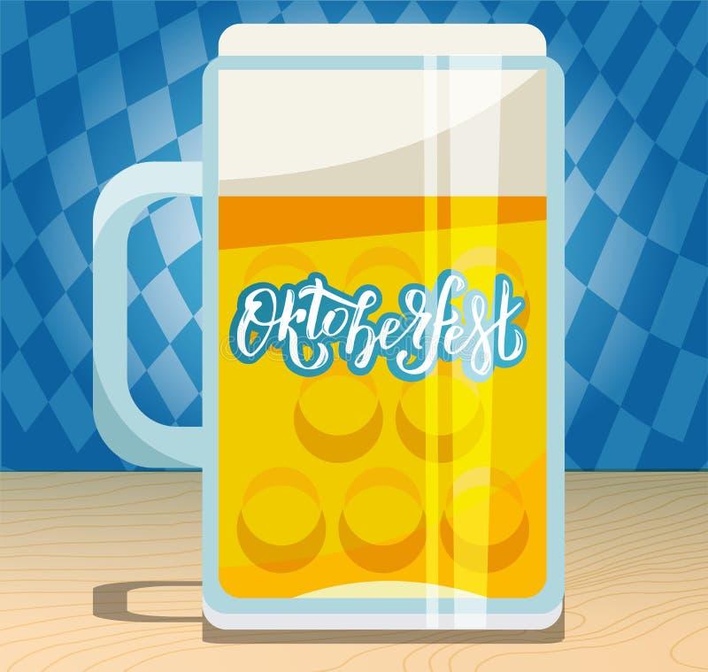 Uma grande caneca de cerveja com a m?o tirada rotulando Oktoberfest no lado de vidro Ilustra??o lisa com pinta espumosa na tabela ilustração stock