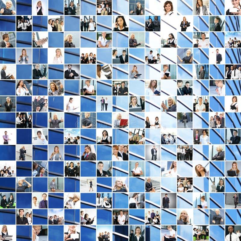 Uma grande colagem de imagens diferentes do tema do negócio fotografia de stock royalty free