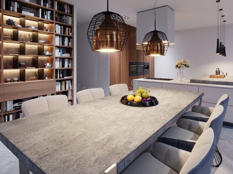 Uma grande mesa de jantar com um worktop concreto, umas lâmpadas de suspensão do grande desenhista e as seis cadeiras à moda ilustração do vetor