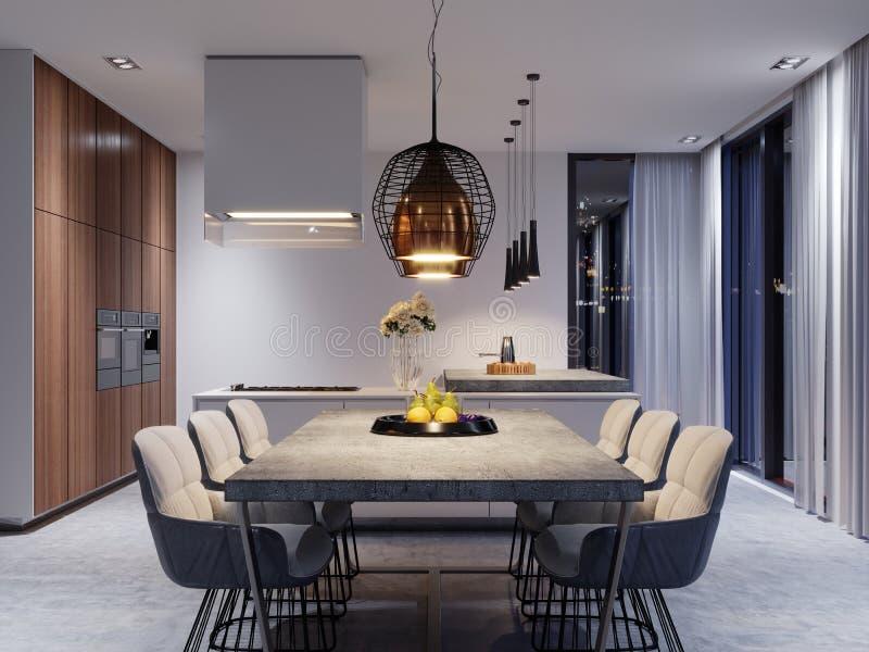 Uma grande mesa de jantar com um worktop concreto, umas lâmpadas de suspensão do grande desenhista e as seis cadeiras à moda ilustração stock