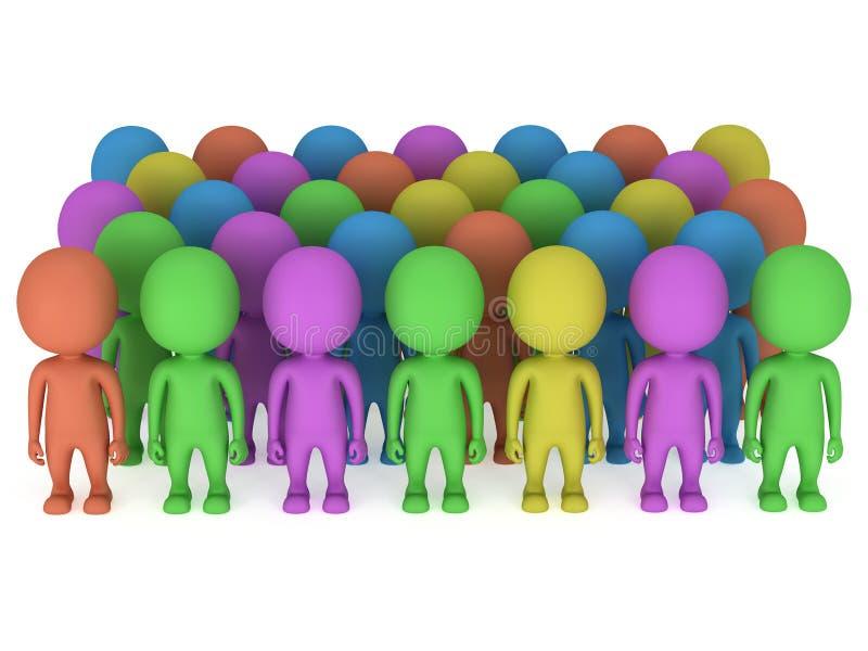 Uma grande multidão de povos diferentes está no branco ilustração royalty free