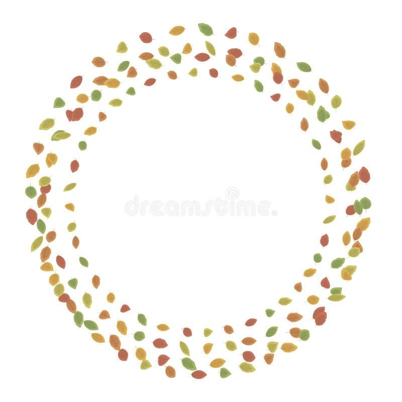 Uma grinalda redonda simples feita das folhas pequenas outonais em uma linha de vermelho, amarelo, verde isolada no illustra bran ilustração do vetor
