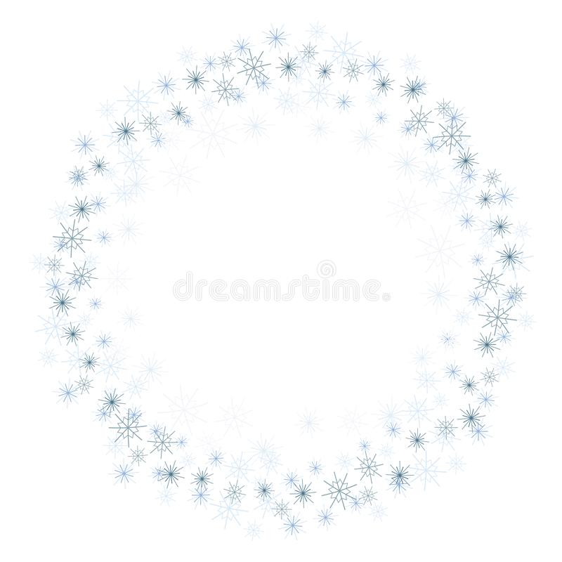 Uma grinalda simples de flocos de neve azuis do tamanho diferente isolou o vetor em um fundo branco ilustração stock