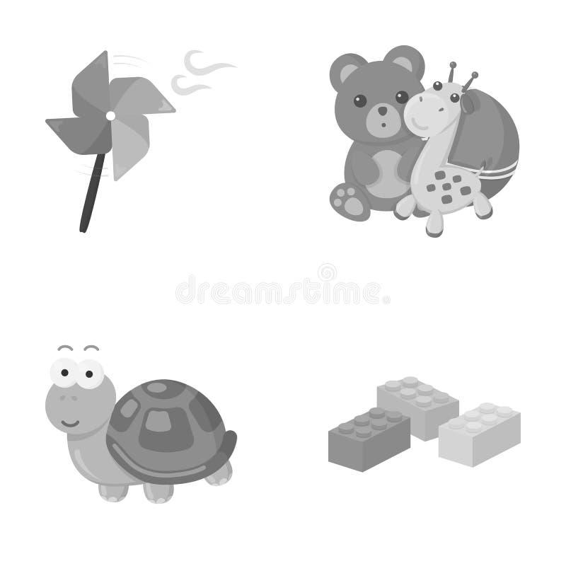 Uma hélice do brinquedo, um urso de peluche com um girafa e uma bola colorida, uma tartaruga do brinquedo, um lego, um desenhista ilustração do vetor