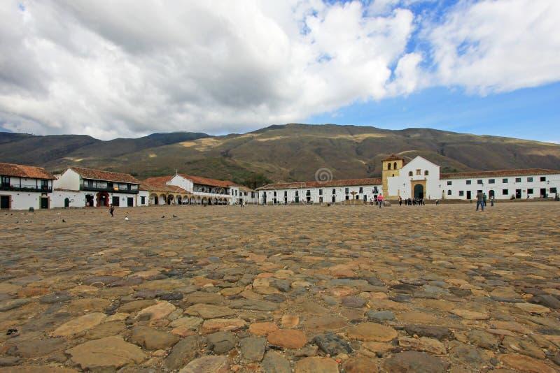 Uma ideia da praça da cidade em Casa de campo De Leyva, Colômbia imagens de stock royalty free