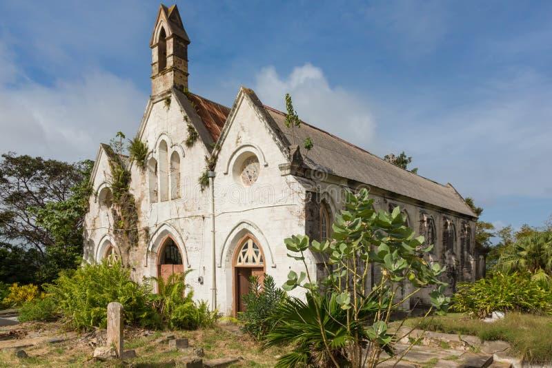 Uma igreja arruinada antiga em Barbados imagens de stock