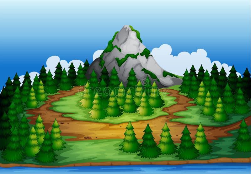 Uma ilha completamente dos pinheiros ilustração do vetor